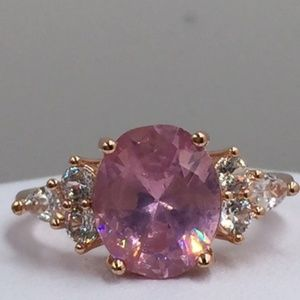 18K Yellow Gold Filled Pink Sapphire Ring